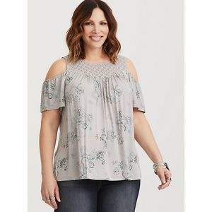 Torrid Grey Paisley Yoke Tee cold shoulder